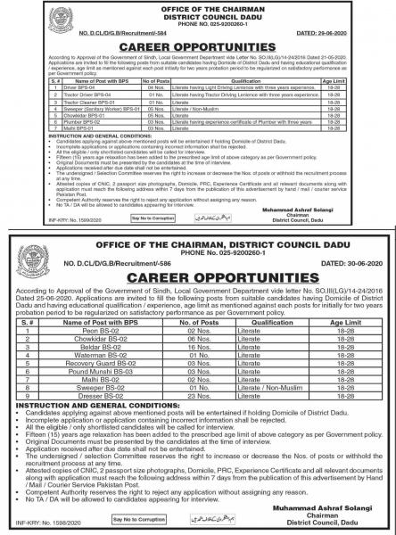 District Council Dadu Jobs 2020