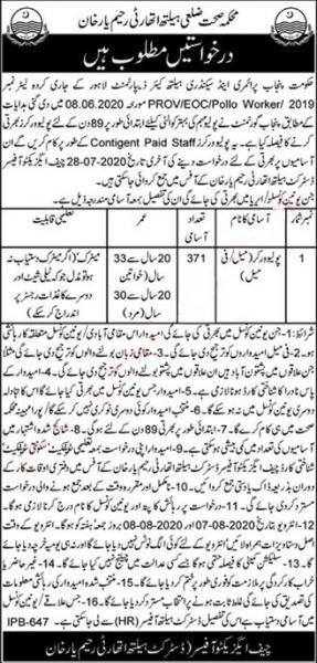 District Health Authority Rahim Yar Khan Jobs July 2020