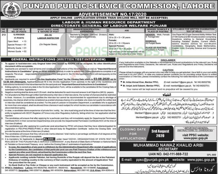 Labour & Human Resource Department Jobs Punjab 2020 PPSC Latest