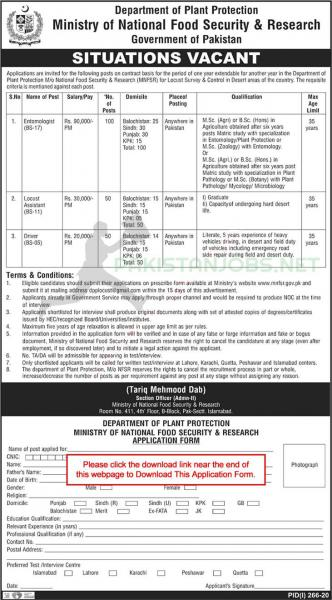 Ministry of National Food Security & Research Pakistan Jobs 2020