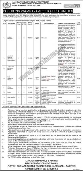 Ministry of National Food Security & Research Pakistan Jobs July 2020