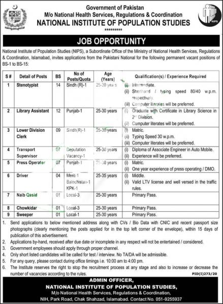 National Institute for Population Studies (NIPS) Jobs July 2020