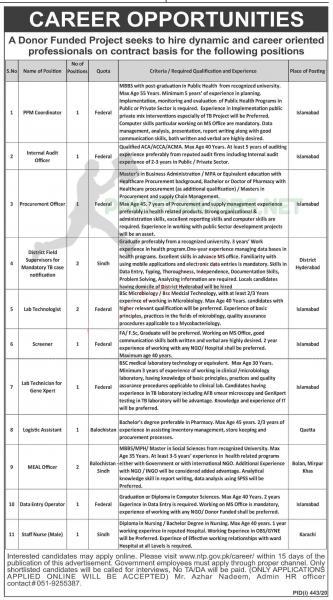 National TB Control Program Jobs - ntp.gov.pk Apply online