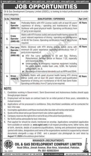 Oil & Gas Development Company Limited (OGDCL) Jobs 2020