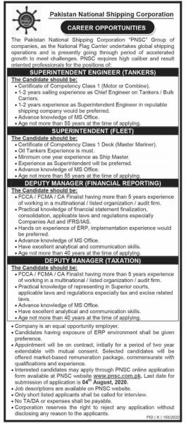 Pakistan National Shipping Corporation PNSC Jobs July 2020 Latest