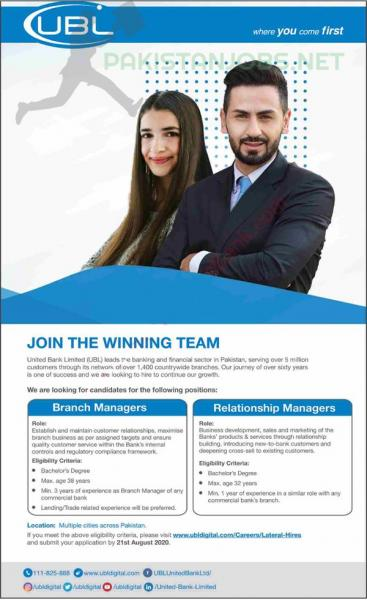 UBL Jobs July 2020 United Bank Limited Latest