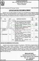 Pakistan Railways 230 Coaches Project Jobs 2020 Latest
