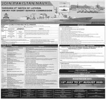 Join Pak Navy Through SSC - Third Batch Of 2020