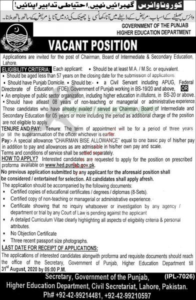 Higher Education Department BISE Jobs 2020