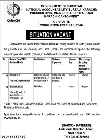 NATIONAL ACCOUNTABILITY BUREAU (KARACHI) NAB JOBS 2020