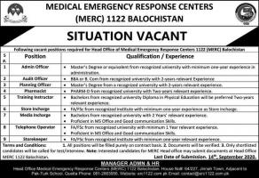 Medical Emergency Response Centers MERC Recuse Jobs pakistan 2020