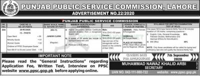 Punjab Public Service Commission (PPSC) Jobs, Advertisement No.22/2020