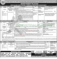 Specialized Healthcare & Medical Education Department Jobs By PPSC 2020