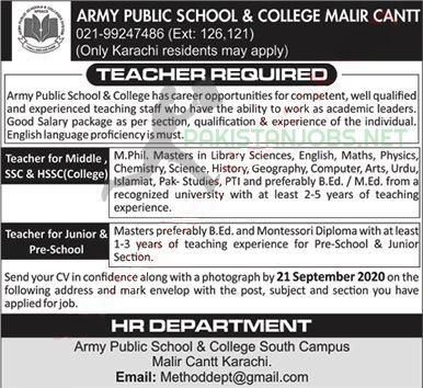 Army Public School and College APS&C Jobs September 2020