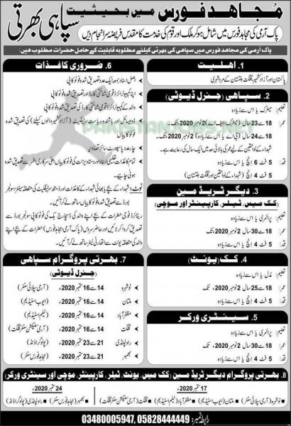 Join Mujahid Force As Soldier Latest Jobs September 2020