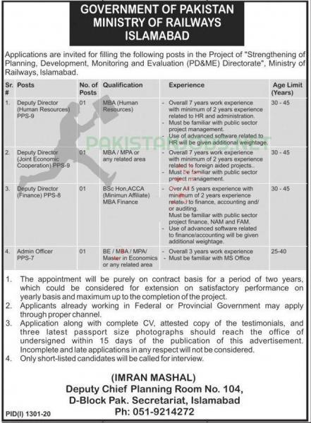 Ministry of Railways Islamabad Jobs September 2020