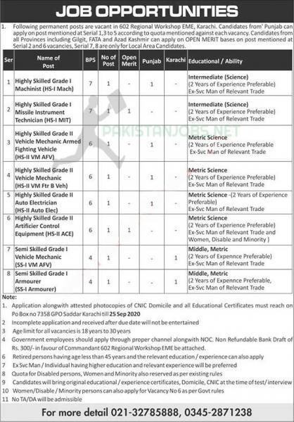 Pak Army EME Jobs 2020 Regional Workshop September 2020 Latest