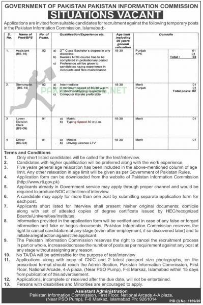 Pakistan Information Commission rti.gov.pk Jobs September 2020