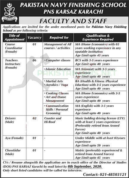 Pakistan Navy Finishing School Latest Jobs September 2020