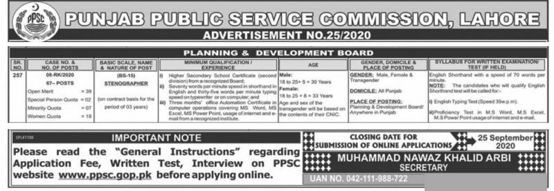 Planning & Development Board PPSC Jobs 2020