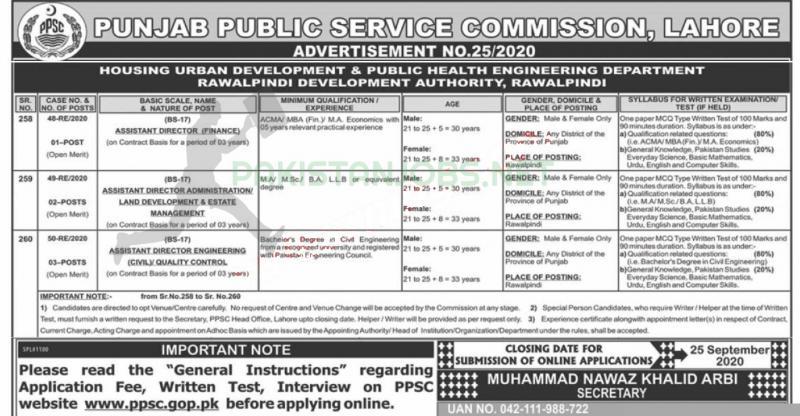 PPSC Latest Jobs Advertisement No. 25/2020
