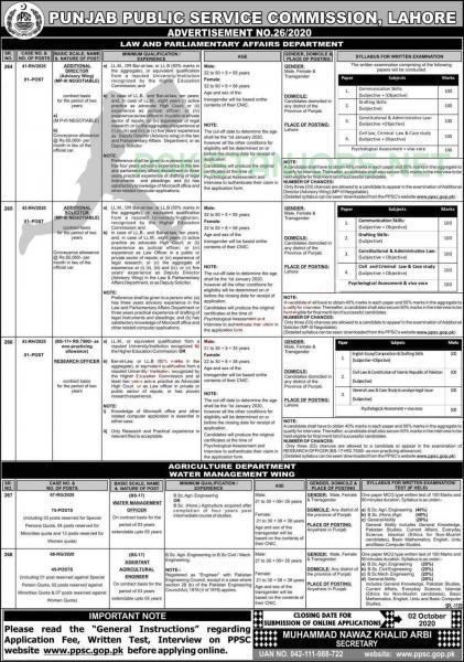 PPSC Latest Jobs Advertisement No. 26/20
