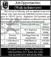 Govt College Of Technology TEVTA Jobs September 2020
