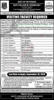 Govt College Of Technology TEVTA Latest Jobs September 2020