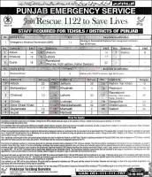 Rescue 1122 Jobs Punjab Emergency Service By PTS