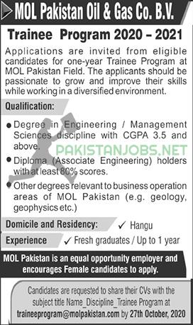 Mol Pakistan Oil & Gas Co BV Trainee Program 2020 - 21