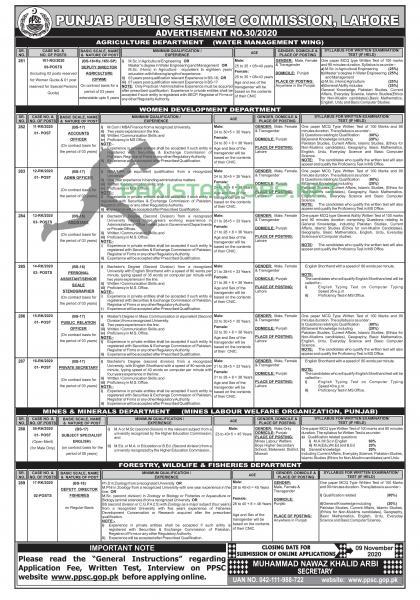 PPSC Jobs Advertisement No 30/2020 Apply Online Latest