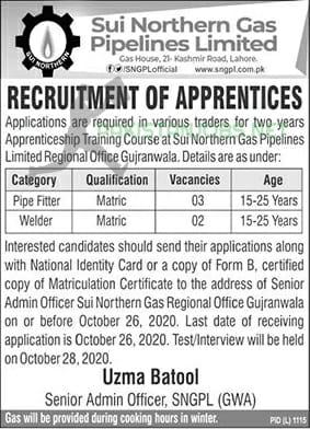 SNGPL Apprenticeship Program 2020 - Sui Northern Gas Pipelines Limited
