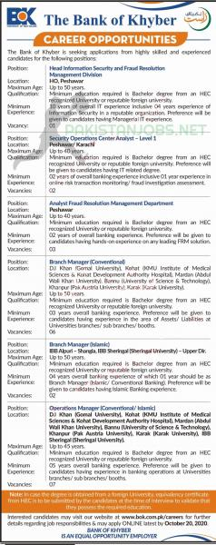 The Bank Of Khyber Jobs October 2020