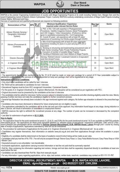 WAPDA Jobs 2020 Application Form Download Latest