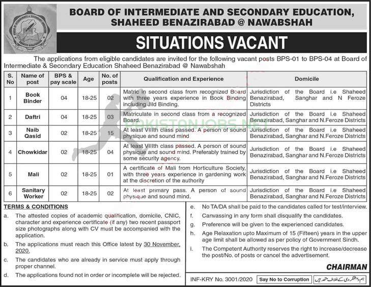 Board Of Intermediate And Secondary Education Jobs Nov 2020