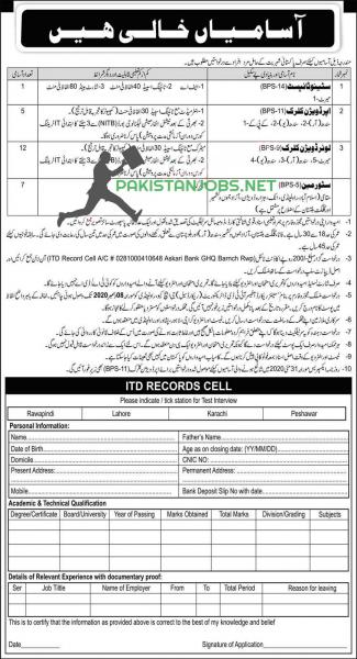 ITD Records Cell GHQ Pak Army Rwp Jobs 2020