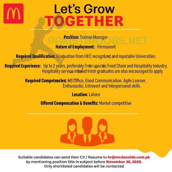 McDonalds Pakistan Jobs November 2020