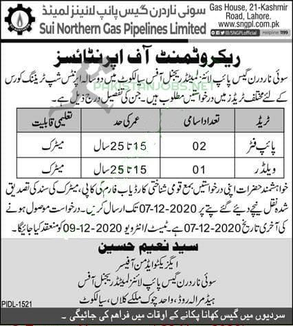 Sui Northern Gas Pipelines Limited SNGPL Nov Jobs 2020