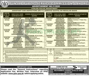 PPSC ASI Jobs In Punjab Police Nov 2020 Online Apply