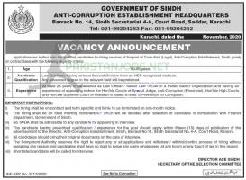 Anti Corruption Establishment Jobs Headquarters Karachi 2020