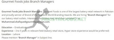 Gourmet Foods Jobs Branch Managers Nov 2020