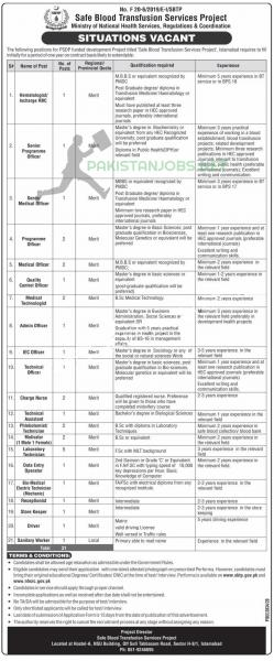 Jobs in Safe Blood Transfusion Services Project, Ministry of NHS,R&C