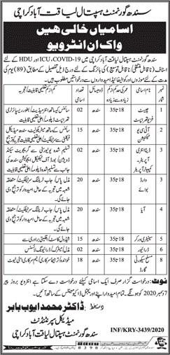 Sindh Government Hospital Jobs December 2020