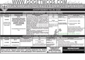 PPSC Department of Agriculture & Livestock 2020 December Jobs