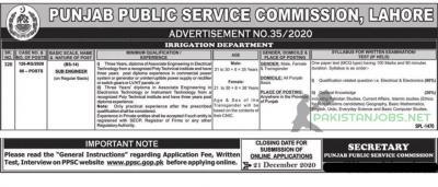 PPSC Irrigation Department Jobs 2020