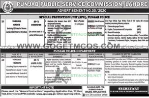 Special Protection Unit SPU Punjab Police Jobs 2020 PPSC Ad
