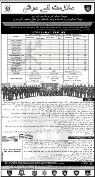Sindh Police SSU Jobs 2021 PTS Hyderabad Application Form