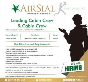 AirSial Limited Jobs 2021 Lead Cabin Crew & Cabin Crew