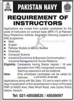 Requirement Of Instructors In Pakistan navy 2021