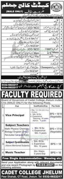 Cadet College Jhelum Jobs 2021 Latest Advertisement